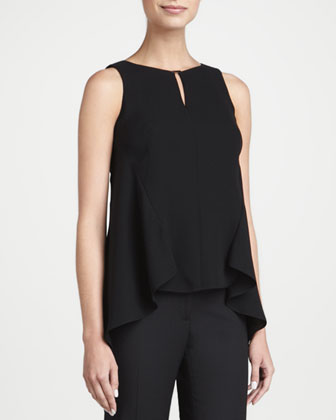 Sleeveless Silk High-Low Blouse
