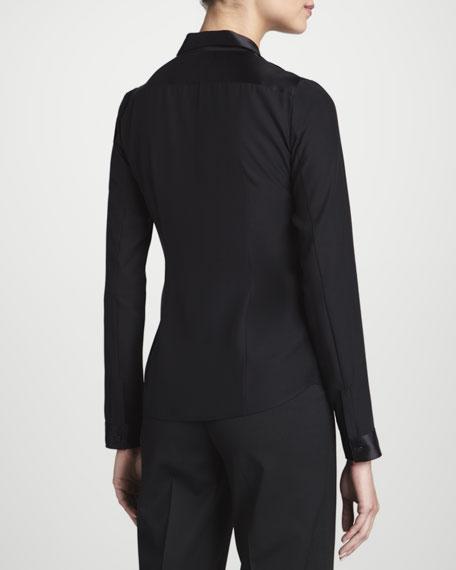 Leora Faux-Leather Blouse