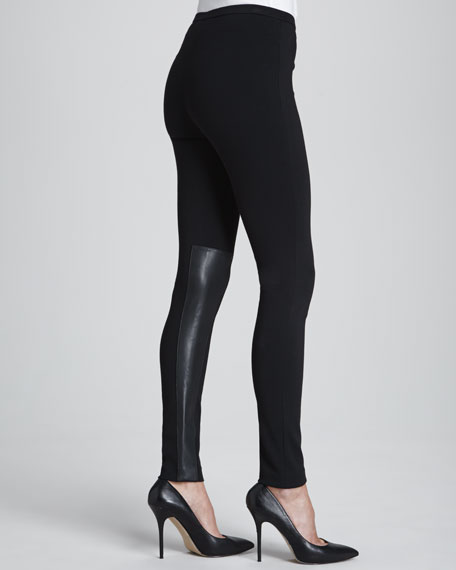 Punto Leggings with Extended Leather Panels