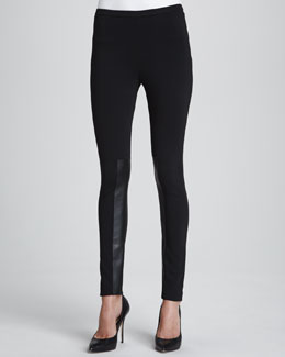 Lafayette 148 New York Punto Leggings with Extended Leather Panels