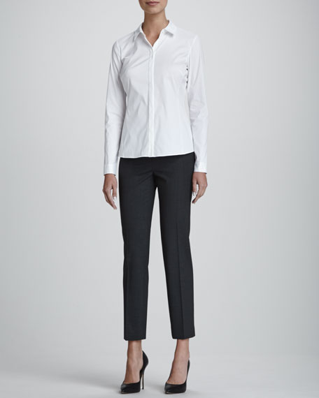Olina Long-Sleeve Blouse, White