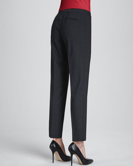 Astor Slim-Leg Cropped Pants, Smoke