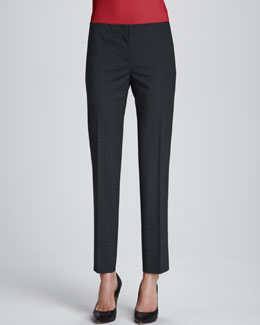 Lafayette 148 New York Astor Slim-Leg Cropped Pants, Smoke