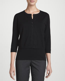 Lafayette 148 New York Fine-Gauge Wool Cropped Cardigan