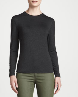 Lafayette 148 New York Nouveau Long-Sleeve Jersey Tee, Smoke