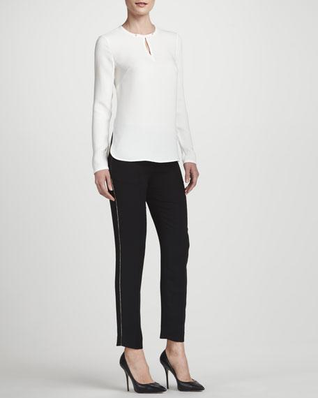 Nouveau Slim-Leg Pants with Golden Detailing