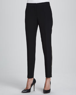 Lafayette 148 New York Nouveau Slim-Leg Pants with Golden Detailing