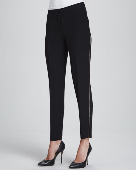 Nouveau Slim-Leg Pants with Golden Detailing