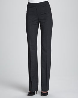 Lafayette 148 New York Bella Stretch Denim Pants, Smoke