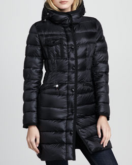 Moncler Hermine Darted-Waist Puffer Coat, Black