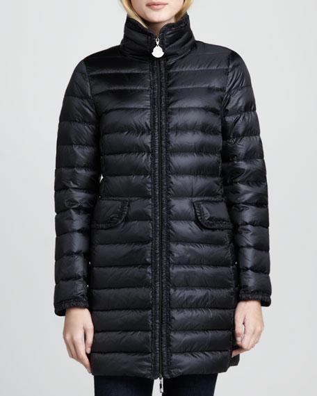 Vanne Ruched-Trim Long Puffer Coat, Black