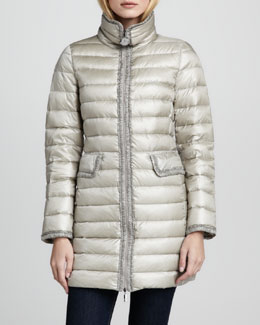 Moncler Vanne Ruched-Trim Long Puffer Jacket, Pewter
