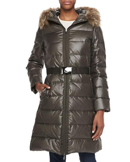 Fur-Trim Belted Puffer Coat