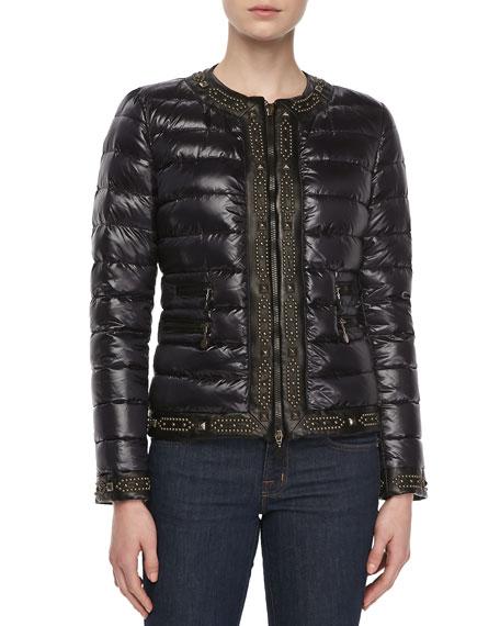 Channel Trimmed Puffer Coat, Black