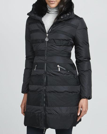 Charmielle Rabbit-Trim Coat