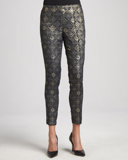 Lafayette 148 New York Medallion Jacquard Pintucked Pants