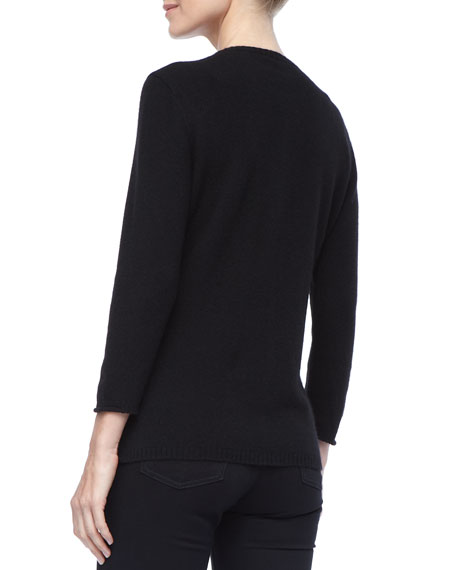 Cashmere 3/4-Sleeve Cardigan