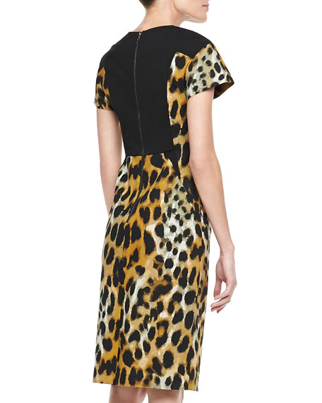 Leopard-Print Short-Sleeve Sheath Dress