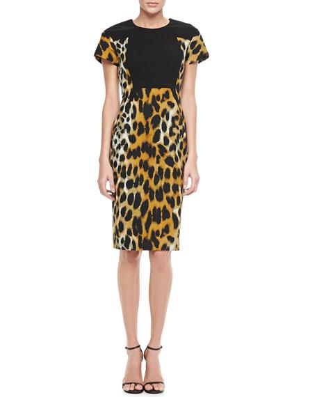 Leopard-Print Short-Sleeve Sheath Dress