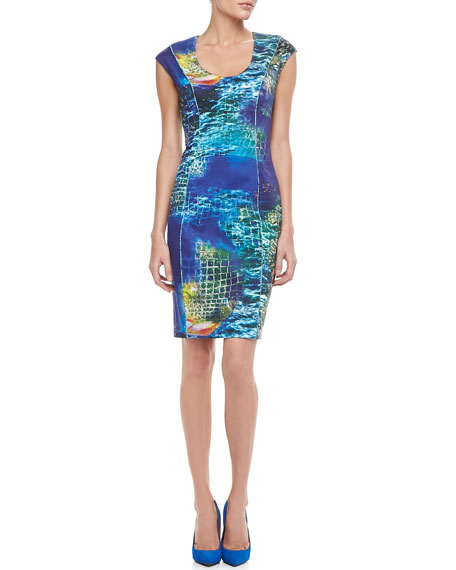Sea-Print Cap-Sleeve Sheath Dress