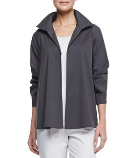 Lafayette 148 New York Cotton-Stretch A-line Topper