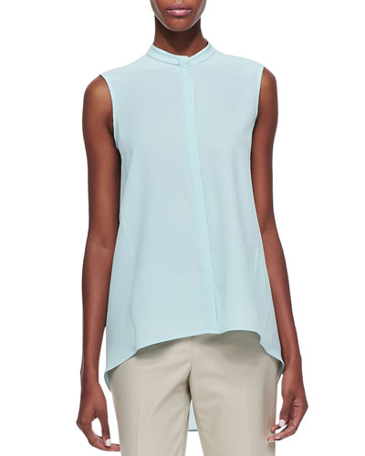 Lafayette 148 New York Silk Sleeveless Small-Collar Top, Dewdrop