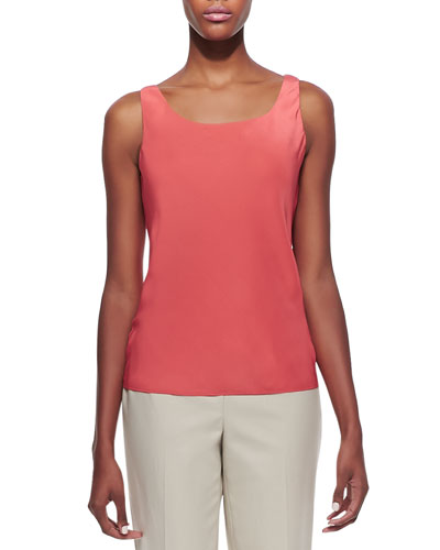 Lafayette 148 New York Silk Lined Tank Top, Grapefruit