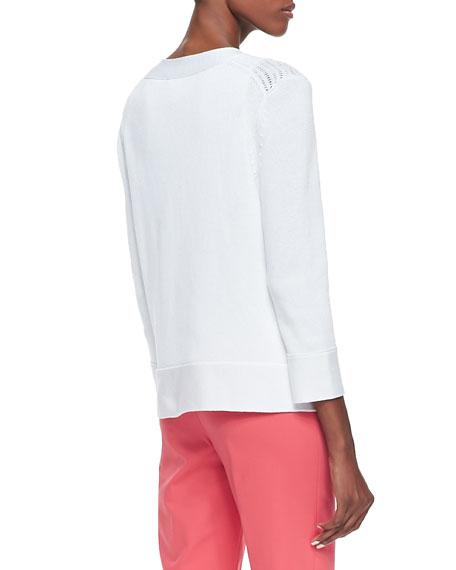 Cotton Cropped Cardigan, White