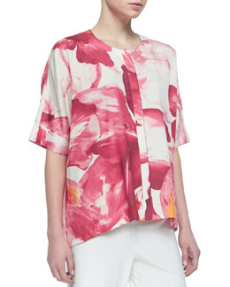 Lafayette 148 New York Floral-Print Silk Scoop-Neck Top