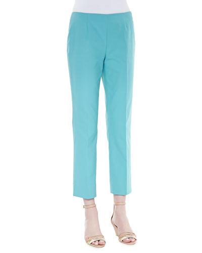 Lafayette 148 New York Metro Bleecker Cropped Pants, Turquoise