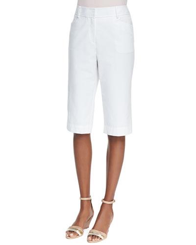 Lafayette 148 New York Metro Stretch Straight-Leg Bermuda Shorts, White