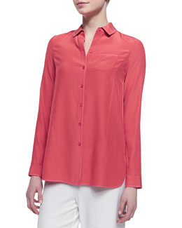 Lafayette 148 New York Long Sleeve Silk Blouse, Grapefruit
