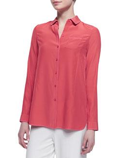 Lafayette 148 New York Long Sleeve Silk Blouse, Grapefruit