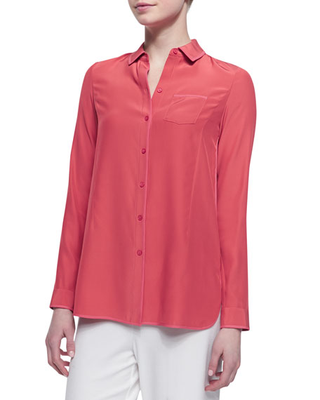 Long Sleeve Silk Blouse, Grapefruit