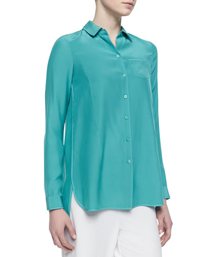 Lafayette 148 New York Long Sleeve Blouse, Turquoise
