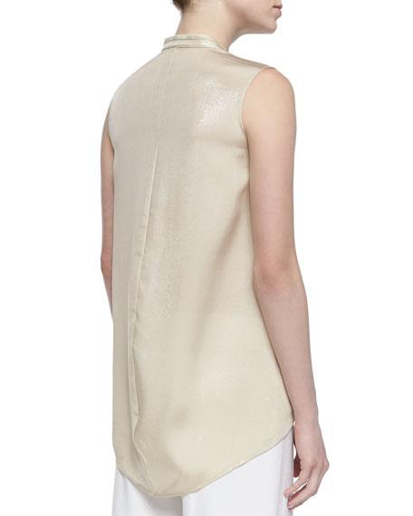 Silk-Blend Iridescent Sleeveless Blouse