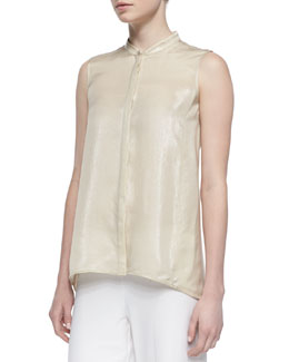 Lafayette 148 New York Silk-Blend Iridescent Sleeveless Blouse