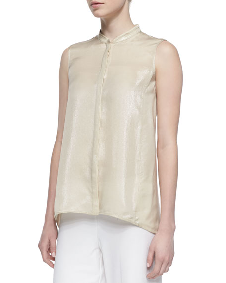 Silk-Blend Iridescent Sleeveless Blouse