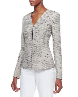 Lafayette 148 New York Novelty Zip Front Jacket, Khaki