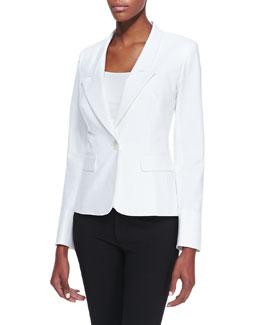 Lafayette 148 New York One-Button Jacket, White