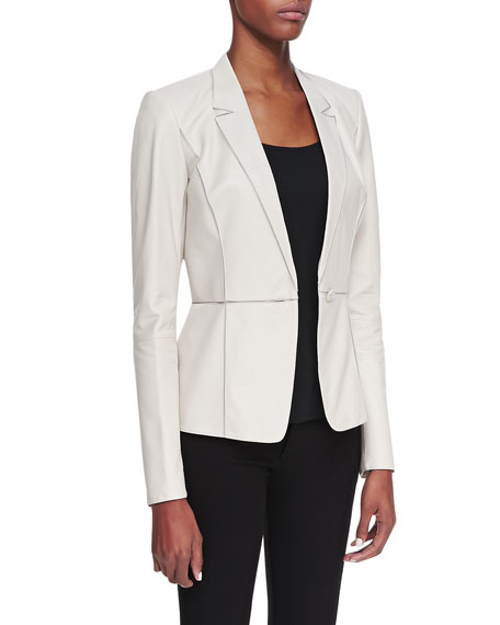 Leather Illusion-Collar One-Button Jacket