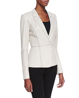 Lafayette 148 New York Leather Illusion-Collar One-Button Jacket