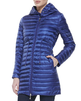 Moncler Barbel Hooded Down-Fill Knee-Length Jacket, Royal