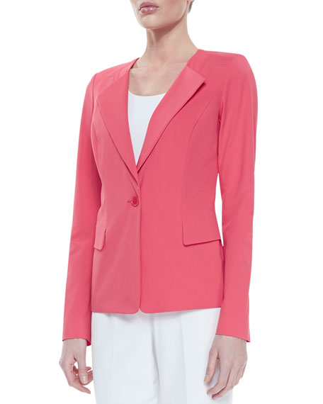 Bi-Stretch One-Button Jacket, Geranium