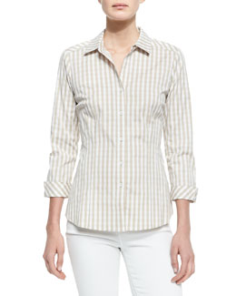 Lafayette 148 New York Hampton Check Blouse, Khaki