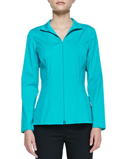 Lafayette 148 New York Stretch-Cotton Zip-Front Blouse
