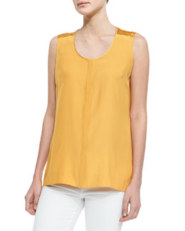 Lafayette 148 New York Sleeveless Silk Blouse, Sunflower