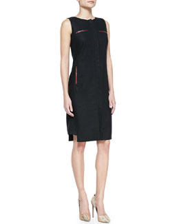 Lafayette 148 New York Linen & Faux-Leather Trim Zip-Front Dress