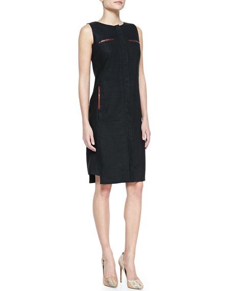 Linen & Faux-Leather Trim Zip-Front Dress