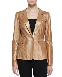 Lafayette 148 New York Shimmer Leather One-Button Jacket